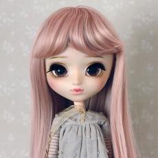 9-10 Medium Wig with Curls - Grayish Pink