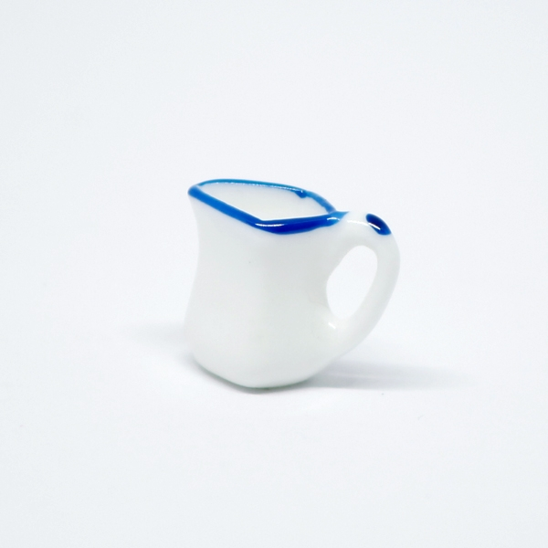 White Pot with Blue Border 1:12