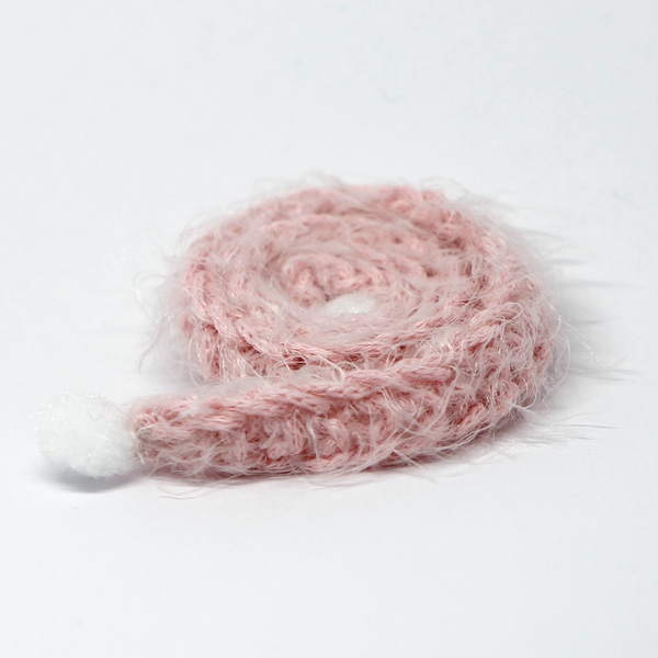 Handknitted fluffy pink Scarf with PomPoms