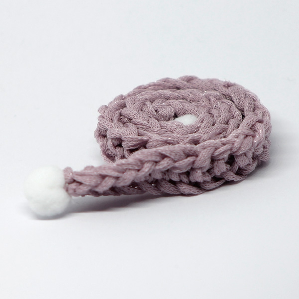 Handknitted purple Scarf with PomPoms