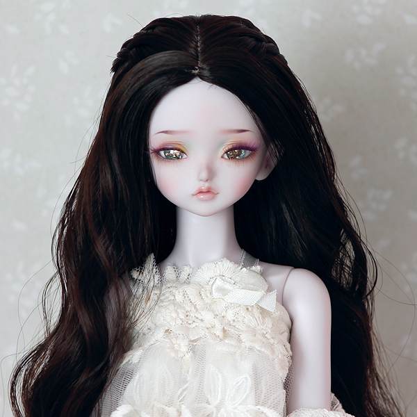 7-8 medium long wavy Wig with braids - Soft Black
