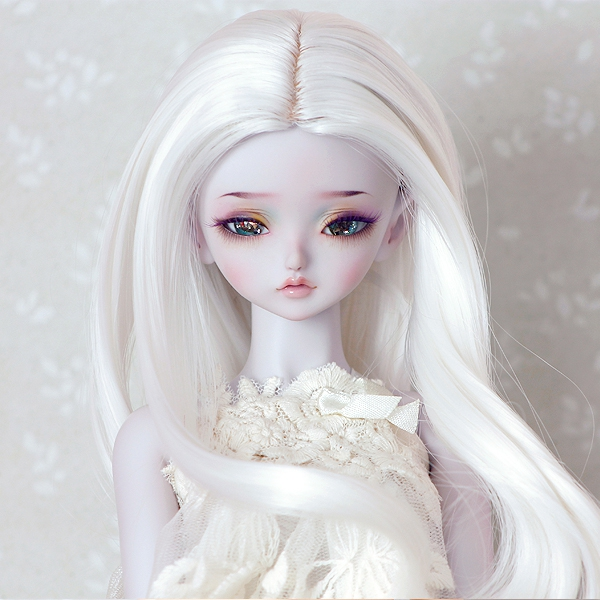 7-8 Curly Wig without Bangs - Floral White