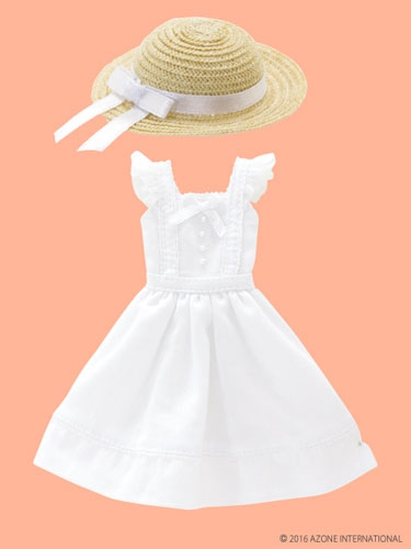 White Summer Dress with Straw Hat (Pure Neemo)