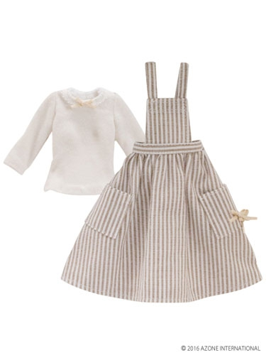 White-Brown Apron One-Piece Dress (Pure Neemo)