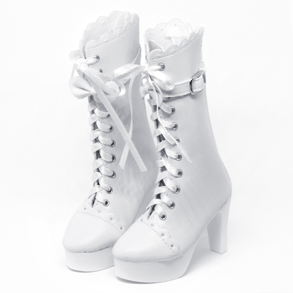White Lolita Boots with Ribbon