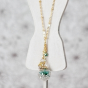 Long Necklace - Glass Orb (Turquoise)