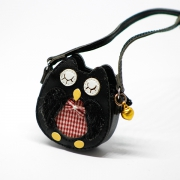 Black Owl Bag with Metal Bell