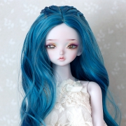 7-8 medium long wavy Wig with braids - Cerulean Blue