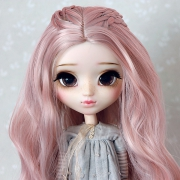 9-10 Medium Wig with small braids - Greyish Pink
