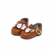 Brown Bunny Shoes with pink Ribbon