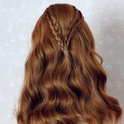 7-8 medium long wavy Wig with braids - Grayish Pink