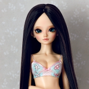 6-7 Long Wig without Bangs - Soft Black