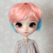 9-10 short wavy two-colored wig - Pink Blue