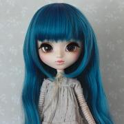 9-10 extra long wavy Wig - Cerulean Blue