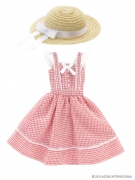 Red Check Summer Dress with Straw Hat (Pure Neemo)