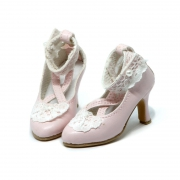 Pink Pumps with Lace