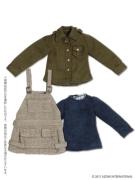 Black Raven Clothing Salopette Casual Set (Picco Neemo 1/12) - Beige/Khaki