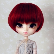 9-10 short straight two-colored wig - Mild Crimson
