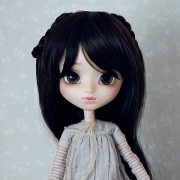 9-10 long curled Wig with curled braids - Soft Black