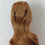 9-10 long curled Wig with curled braids - Soft Blond