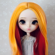 9-10 extra long curled two-colored Wig - Cocktail Grapefruit