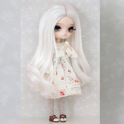 8-9 Curly Wig without Bangs - Floral White