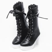 Black Lolita Boots with Ribbon