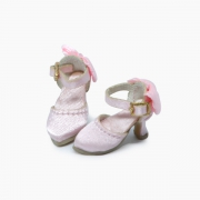 Pink delicate Pumps with ribbons