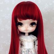 8-9 Mittellange Wig mit Curls - Crimson Red