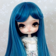 8-9 Medium Wig with Curls - Cerulean Blue