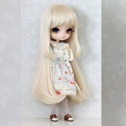 8-9 Medium Wig with curled strands - Soft Black