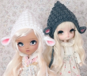 Crochet Sheep Hat for Pullip and Dal in White