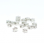 Beads silver stars 0,7 x 0,4 cm, 50 pieces
