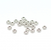 Beads silver patterned balls 0,4 x 0,3 cm, 50 pieces